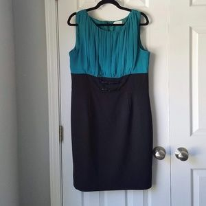 Calvin Klein Two Toned Teal Black Career Dress